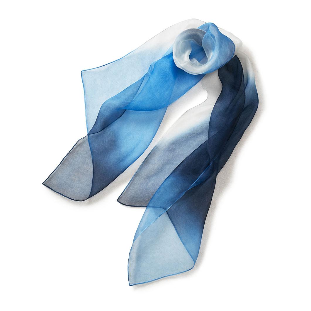 ダブルオーガンジー スプレーバイヤス スカーフ ブルー/ブラックの商品画像