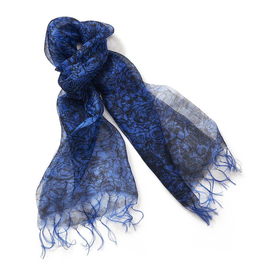 ダブルオーガンジー ローズスカーフ ブルーの商品画像