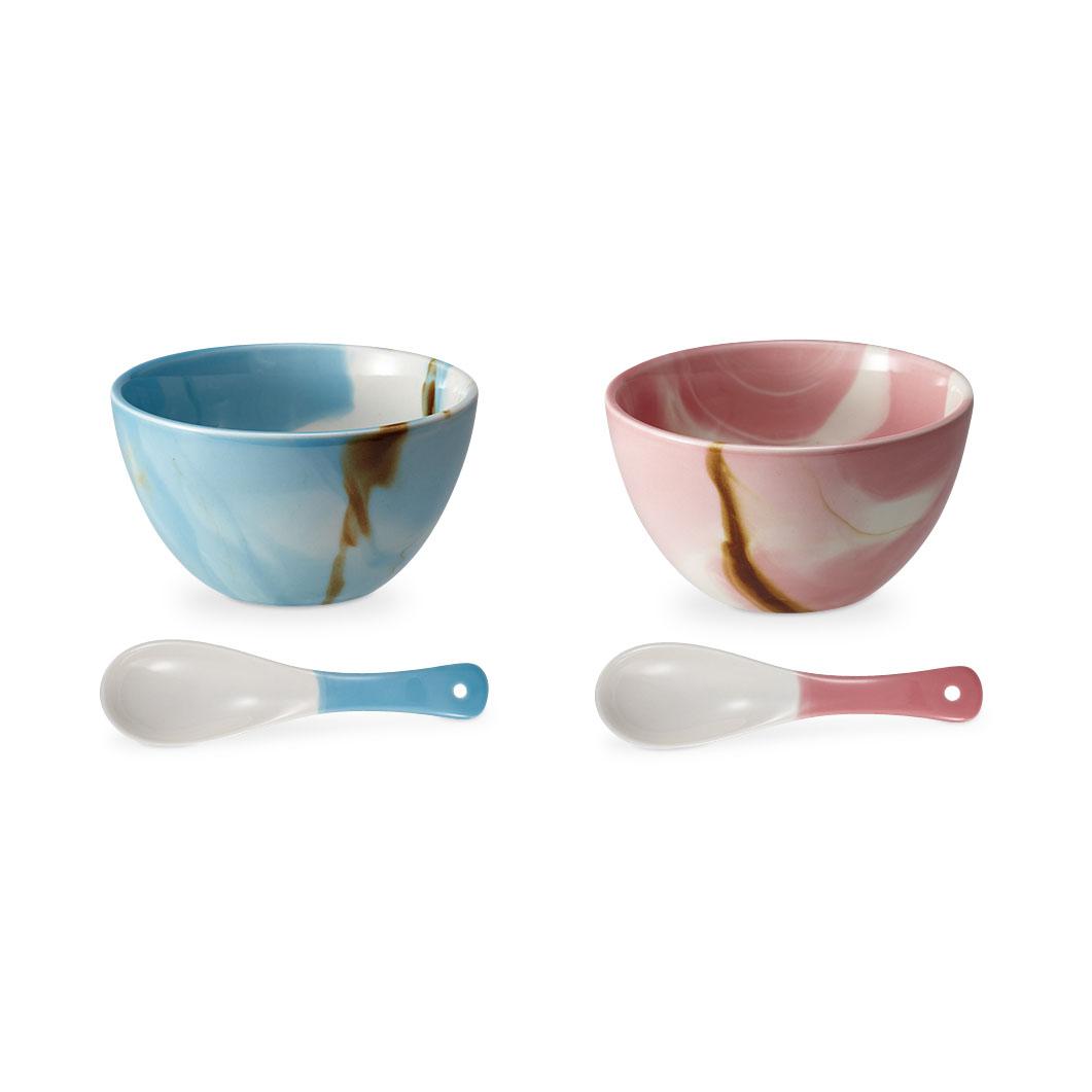 マーブル ボウル&スプーン ピンク/ブルー(2点セット)の商品画像