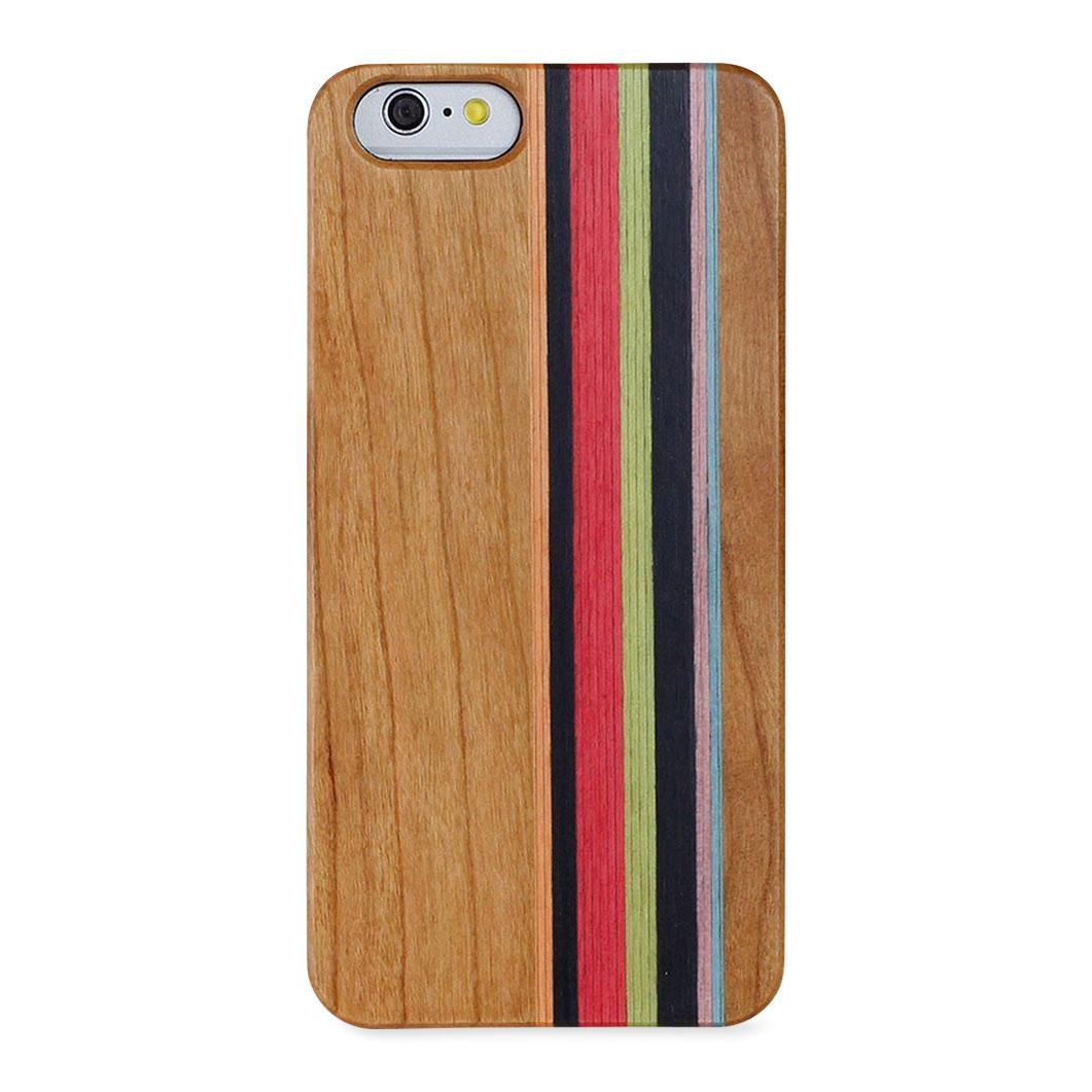 <MoMA> ナチュラルウッド iPhone 7 ケース ストライプ・チェリー