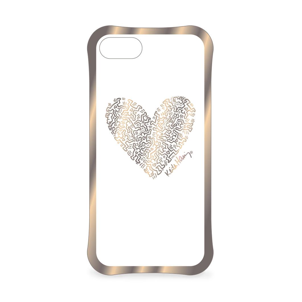 キース・ヘリング: iPhone 7 ケース Heart ゴールド/クリアの商品画像