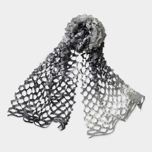 TANABATA 羽二重スカーフ レインストライプ モノクロの商品画像