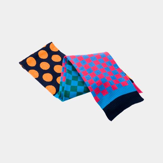 チェック&ドット スカーフ ブルーマルチの商品画像