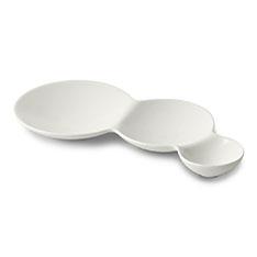 サヴォネ 3連仕切り皿 マットホワイトの商品画像