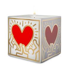 キース・ヘリング:スクエア キャンドル Red Heartの商品画像