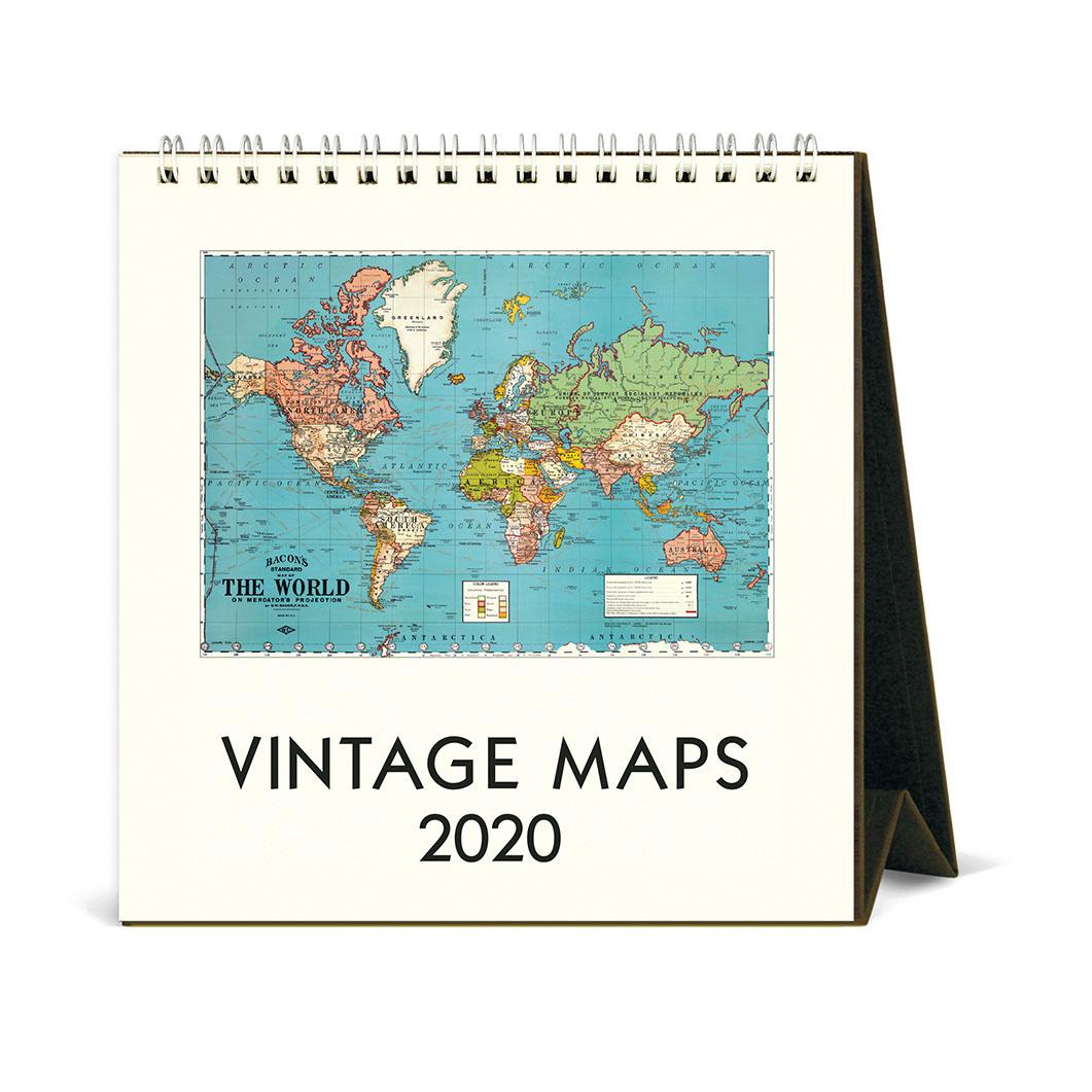 ヴィンテージマップ デスクカレンダー 2020